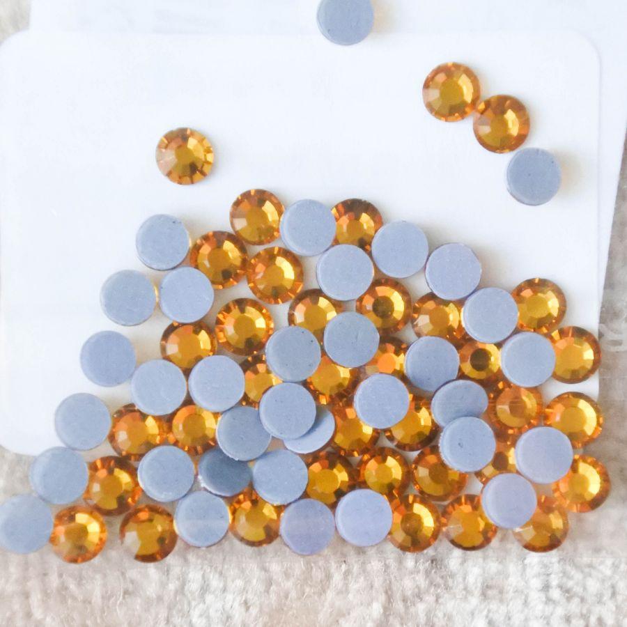 Стразы стеклянные клеевые, цвет Желтый, SS10, 70 шт/упак