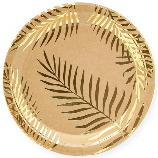 Тарелки Крафт с золотым тиснением большие