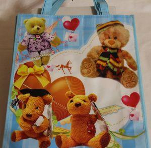 ! пакет сумка подар ткань мишки 34*29,5, ячейка: 22