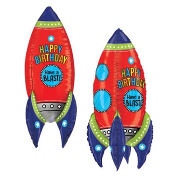 Ракета 3d С Днем Рождения шар фольгированный с гелием