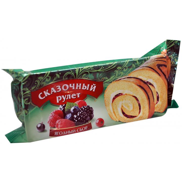 Рулет Сказочный с кремом и начинкой лесн.ягода 200г Раменский