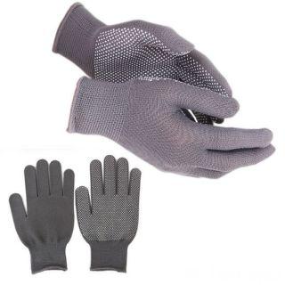 Нейлоновые перчатки с ПВХ точками, 12 пар, Цвет: Серый