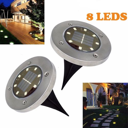 Садовый светильник на солнечной батарее Disk Lights 8 Led, 1 шт