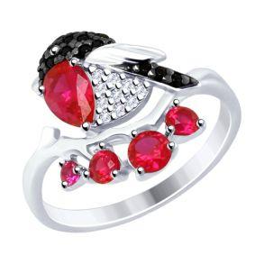 Кольцо «Снегирь» из серебра с фианитами 94012493 SOKOLOV