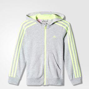Толстовка adidas Young Girls Essentials 3-Stripes Full-Zip Brushed Hoodie серая