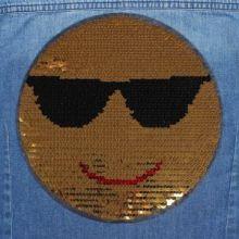 """Термоаппликация с пайетками """"Смайл в очках """", двусторонняя, d=21см, цвет золотой/серебряный"""