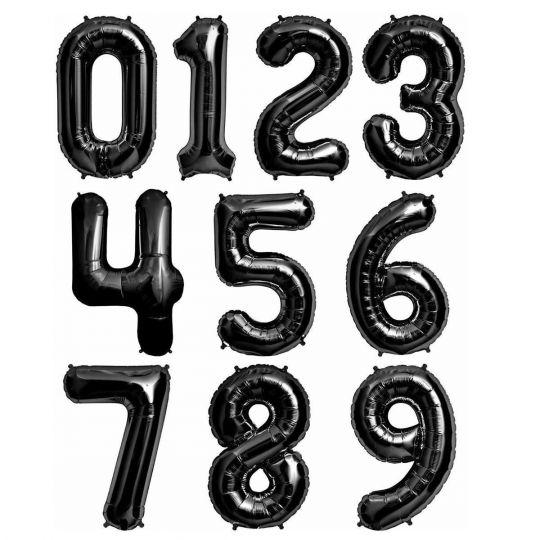 Цифры черные фольгированные шары с гелием