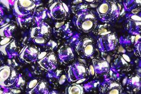 Бисер чешский 37110 темно-синий прозрачный серебряный внутри (огонек) Preciosa 1 сорт