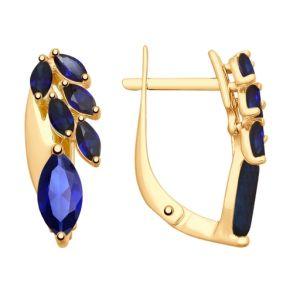 Серьги из золота с синими корундами (синт.) 725631 SOKOLOV