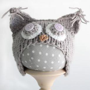 Вязанная шапочка для куклы- Серая сова