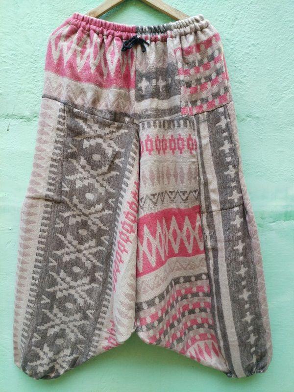 Теплые серо-розовые штаны афгани, унисекс (Москва)