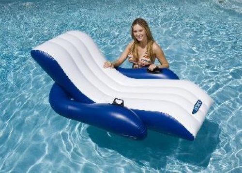 Надувное кресло-шезлонг с держателями 180х135 см для плавания