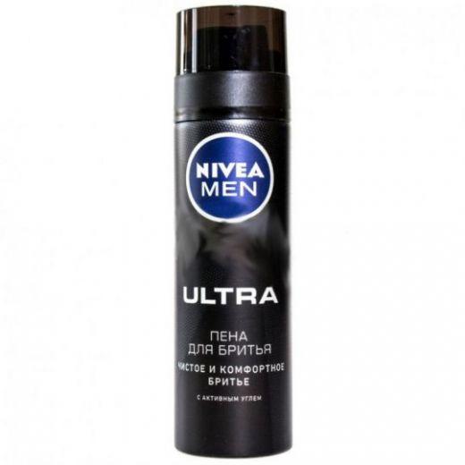 Пена для бритья Nivea Men Ultra с активным углём, 200 мл