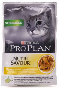 Консервы Pro Plan пауч кусочки в соусе для взрослых стерилизованных кошек с курицей 85 гр.
