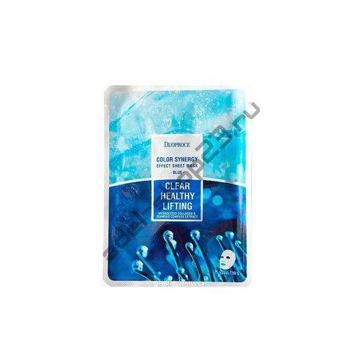 Deoproce – маска с морским коллагеном и экстрактами водорослей Color Synergy Effect Sheet Mask Blue