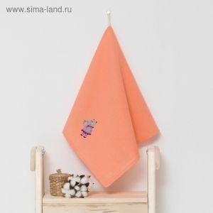 """Полотенце детское """"Доляна"""" Бегомотик, цвет коралловый 40х70 см, 100% хлопок, 150 г/м?"""