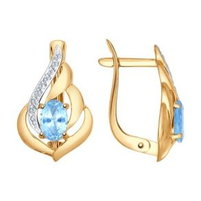 Серьги из золота с голубыми топазами и фианитами 724790 SOKOLOV