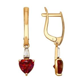 Серьги из золота с бесцветными и красными Swarovski Zirconia 81020314 SOKOLOV