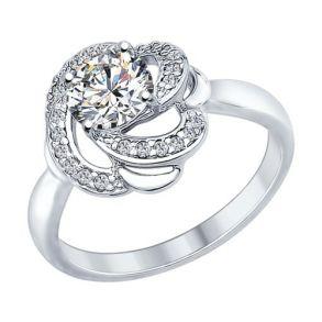 Кольцо из серебра с фианитами и Swarovski Zirconia 89010049 SOKOLOV