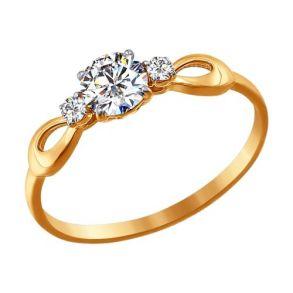 Помолвочное кольцо из золота со Swarovski Zirconia 81010197 SOKOLOV