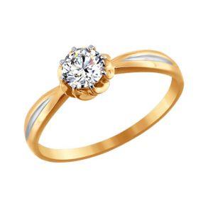 Помолвочное кольцо из золота со Swarovski Zirconia 81010176 SOKOLOV