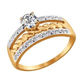 Кольцо из золота со Swarovski Zirconia 81010137 SOKOLOV