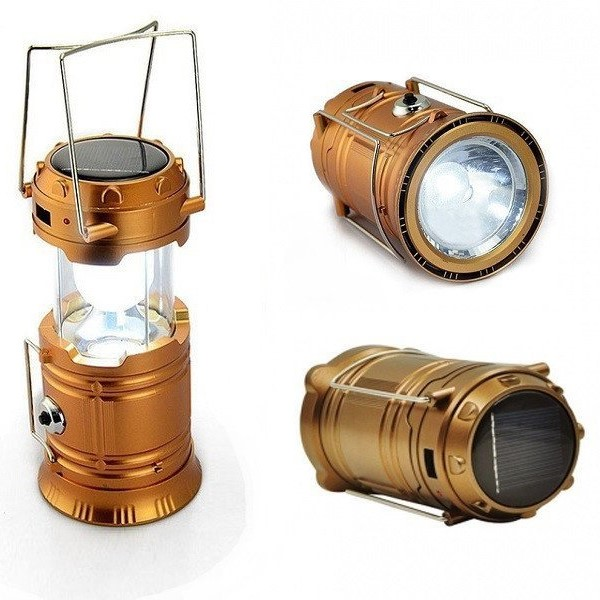 Складной кемпинговый фонарь 3-в-1, 14 см, цвет золотистый