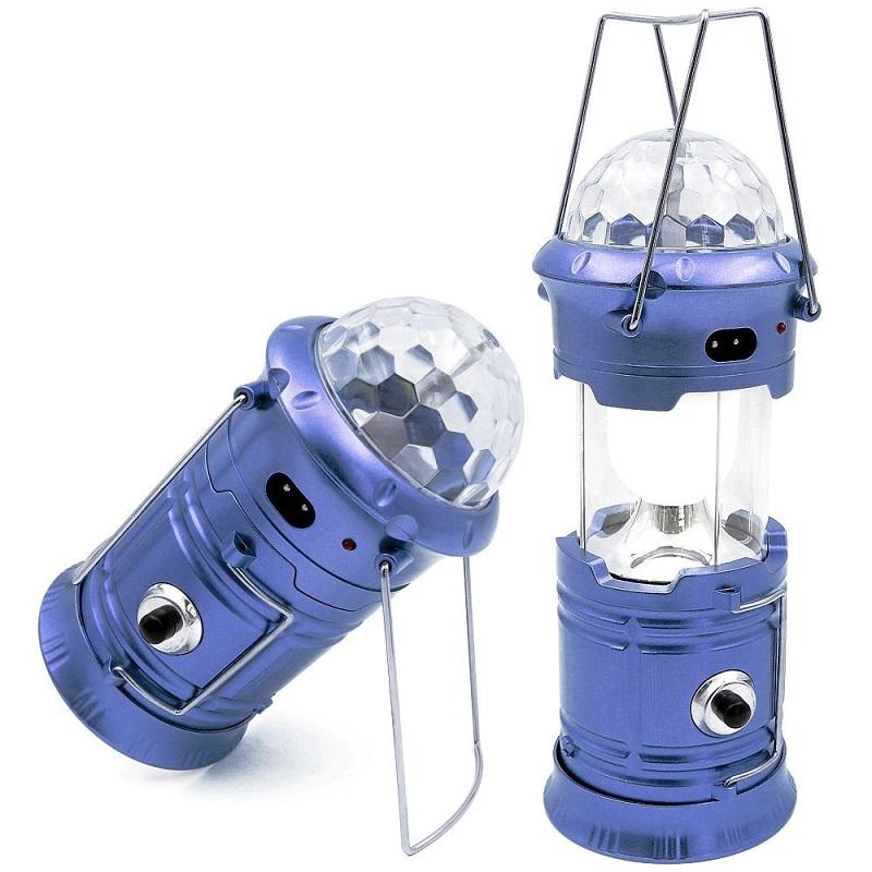 Складной кемпинговый фонарь с диско-шаром, 4-в-1, 19 см, цвет синий