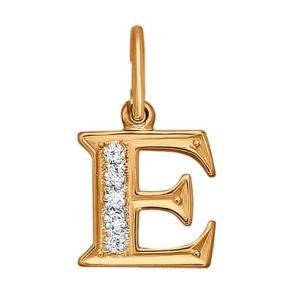 Подвеска-буква «Е» с фианитами 031095 SOKOLOV
