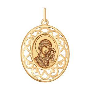 Золотая иконка с ликом Божьей Матери Казанской 104119 SOKOLOV