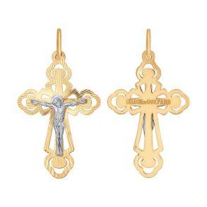 Крест из комбинированного золота с алмазной гранью и лазерной обработкой 120313 SOKOLOV