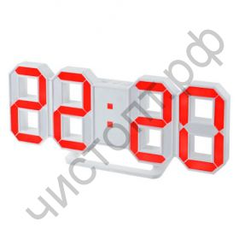 "Часы  эл. сетев. Perfeo LED ""LUMINOUS"", будильн., настол/настен. , белый корпус / красная подсветка питан. USB  (PF-5201) (5В)"