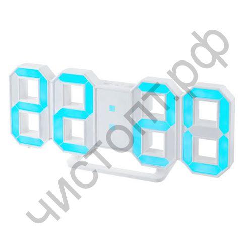 "Часы  эл. сетев. Perfeo LED ""LUMINOUS"", будильн., настол/настен. , белый корпус / синяя подсветка питан. USB  (PF-5203) (5В)"