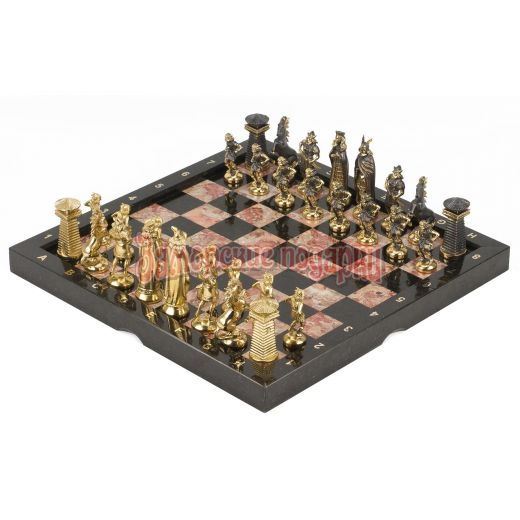 """Шахматы """"Викинги"""" бронза креноид змеевик 360х360 мм"""
