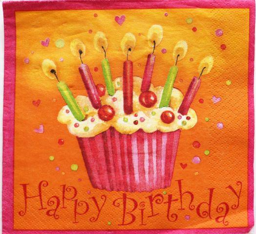 Салфетка бумажная 30*30 Кекс на день рождения