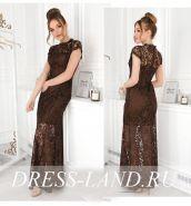 Шоколадное кружевное платье