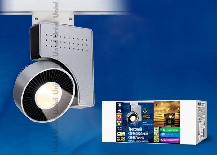 Трековый светильник на шинопровод Uniel ULB-M03А-23W/WW SILVER