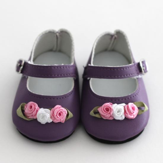 Обувь для кукол туфельки (балетки) 7,5 см - Сиреневые