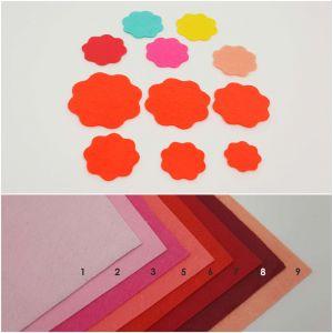 """Фетровые пяточки круглые """"волна"""" 30мм, цвет № 03 ярко-розовый (1уп = 243шт)"""