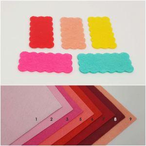 """Фетровые пяточки прямоугольные """"волна"""" 15*30мм, цвет № 02 розовый (1уп = 486шт)"""