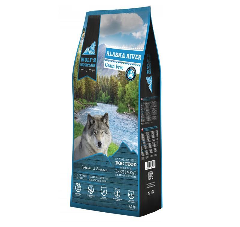 Корм для собак Wolf's Mountain Alaska river 2,5кг salmon and chicken