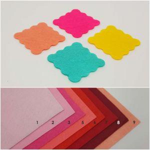 """Фетровые пяточки квадратные """"волна"""" 35мм, цвет № 01 светло-розовый (1уп = 192шт)"""