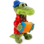 Крокодил Гена с аккордеоном - мягкая игрушка озвученная, 33 см.