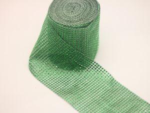 "Лента декоративная ""имитация страз"", ширина 12 см, длина 10 ярдов, цвет: 14 зеленый"