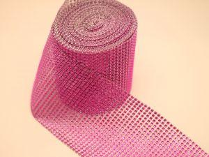 "Лента декоративная ""имитация страз"", ширина 12 см, длина 10 ярдов, цвет: 43 ярко-розовый"