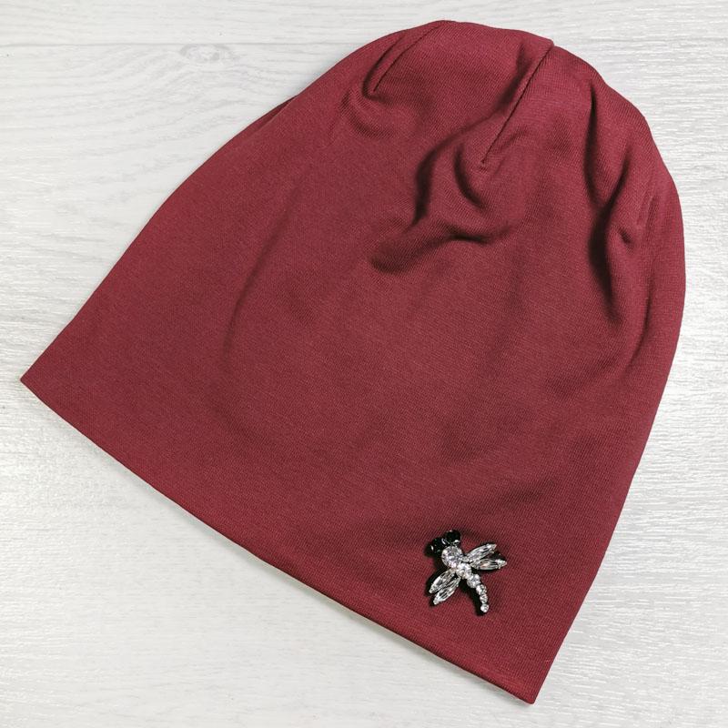вд1471-06 Шапка трикотажная двойная шестиклинка Стрекоза бордо
