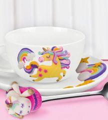 Чайная пара с ложечкой «Единорог», набор для декора из полимерной глины