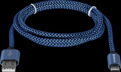 USB кабель USB09-03T PRO USB2.0 Синий, AM-Type-C, 1m, 2.1A
