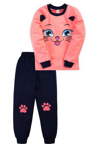 Пижама для девочки 3-7 лет Bonito BK976PJ коралловый, кошечка
