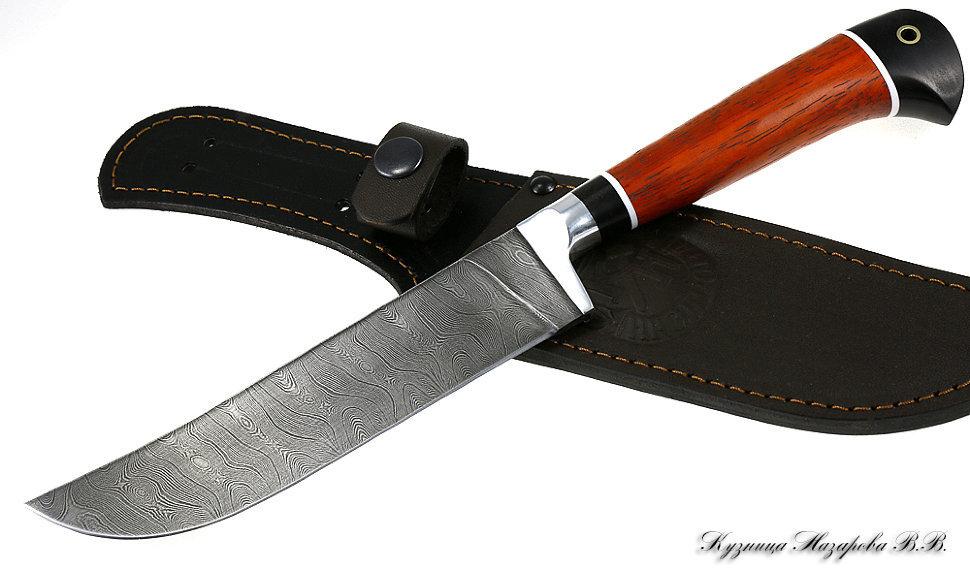 Нож Узбекский пчак, дамаск, рукоять черный граб падук